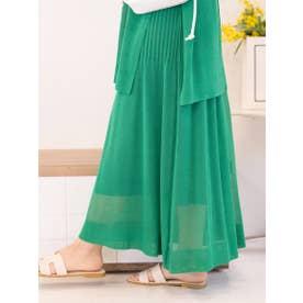麻タッチニットスカート《手洗い可能》 (グリーン)