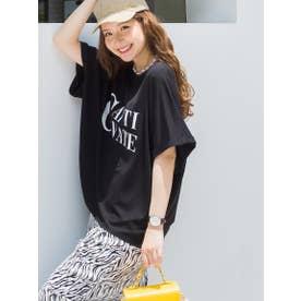 ロールアップロゴTシャツ《洗濯機で洗える》 (ブラック)