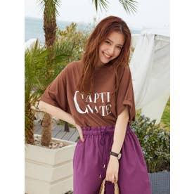 ロールアップロゴTシャツ《洗濯機で洗える》 (ブラウン)