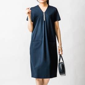 イネスパールナーシングドレス(半袖) (ネイビー)