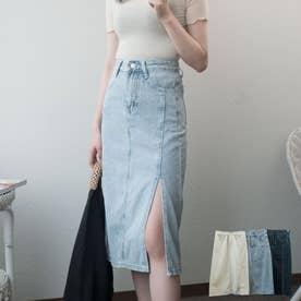ロングスカート レディース 夏 デニム 韓国ファッション スカート ミモレ丈 スカート ロング スリット (ライトブルー)
