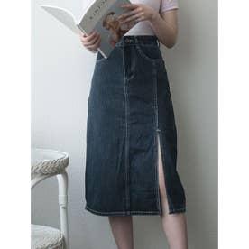 ロングスカート レディース 夏 デニム 韓国ファッション スカート ミモレ丈 スカート ロング スリット (ダークブルー)