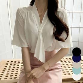 ブラウス レディース 半袖 ボウタイ ブラウス オフィス 韓国ファッション レディース 半袖 トップス (アイボリー)