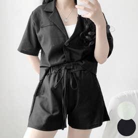 セットアップ レディース 夏 半袖 ジャケット+ショートパンツ セット レディース 韓国ファッション セット (ブラック)