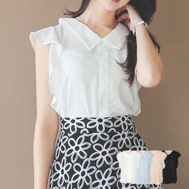 ブラウス レディース 韓国ファッション フリルブラウス レディース オフィス レディース ブラウス オフィス (アイボリー)