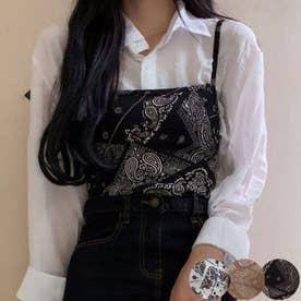 トップス レディース ビスチェ トップス 夏 ペイズリー柄 トップス レディース キャミソール 韓国ファッション (ブラック)