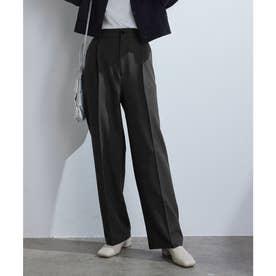 【vis-`a-vis】美シルエットセンタープレスカラーセミワイドパンツ【洗濯機可】 (ブラック(01))