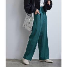 【vis-`a-vis】美シルエットセンタープレスカラーセミワイドパンツ【洗濯機可】 (グリーン(30))