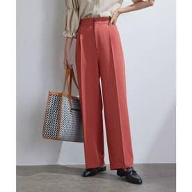 【vis-`a-vis】美シルエットセンタープレスカラーセミワイドパンツ【洗濯機可】 (レンガ(75))