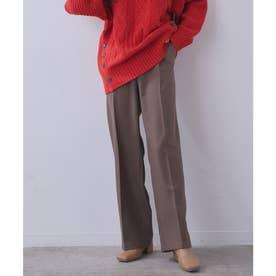 【vis-`a-vis】美シルエットセンタープレスカラーセミワイドパンツ【洗濯機可】 (ダークブラウン)