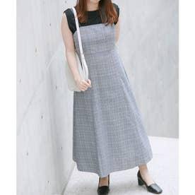 【vis-`a-vis】バックリボンもアクセント。合皮パイピングジャンパースカート (ブラック系(02))