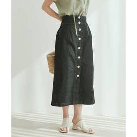 【vis-`a-vis】ストレッチ性抜群。デニムIラインハイウェストスカート (ブラック)