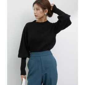 もちもちニットリブ編みボリューム袖PO (ブラック)