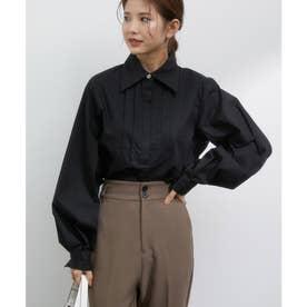 フロントピンタックビジューボタンシャツ (ブラック)