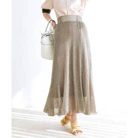 【vis-`a-vis】揺れるラメプリーツマーメイドスカート (ベージュ)