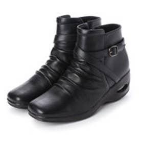 ◇ワークストラベラーWarkstraveler 楽らくクロスベルトデザインショートブーツ (ブラック)