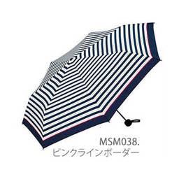 MINI 紳士用折りたたみ傘 (MSM038.ピンクラインボーダー)