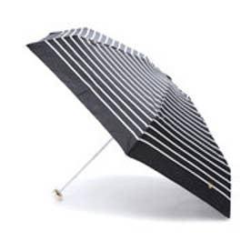 雨傘 ハート刺繍ボーダーゴールドmini (ブラック)