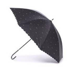 日傘 晴雨兼用 遮光ジェムリボン (ブラック)
