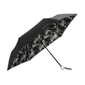 雨傘 plantica×フラワーアンブレラインサイドプリント mini (ブラック)