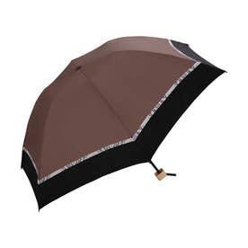 日傘 遮光バードケージバイカラーパイソンアクセントmini (ブラウン)