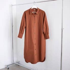 ロングシャツ ワンピース 無地 (ブラウン)