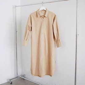 ロングシャツ ワンピース 無地 (ベージュ)