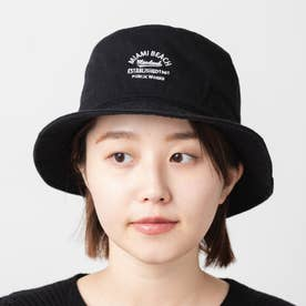 カレッジロゴ刺繍キャンバスバケットハット WASHED BUCKET (Black)