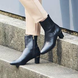 【きれいなシルエット】ストレッチ本革ミドル丈ブーツ (クロ)