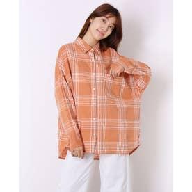 チェックデザインワイドシャツ (オレンジ)