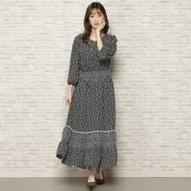 小花MIX裾ティアードワンピース ブラック