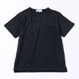 〈heyagi〉 黒Tクルーネック/ポケあり[刺繍:ロゴ/茶]