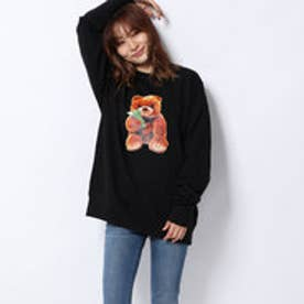 x YURINO TEDDY BEAR CREW SWEAT TOP (BLACK)