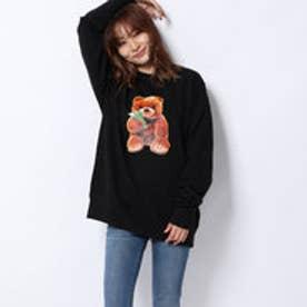 x YURINO TEDDY BEAR CREW SWEAT TOP (BLACK)