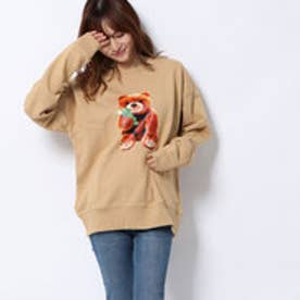 x YURINO TEDDY BEAR CREW SWEAT TOP (BEIGE)