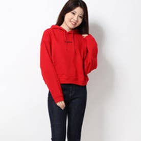 MILLS LOGO CROPPED SWEAT HOODIE (RED)