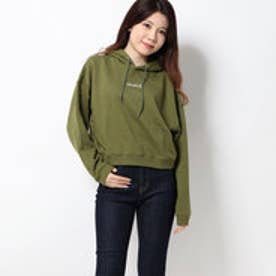 MILLS LOGO CROPPED SWEAT HOODIE (OLIVE)