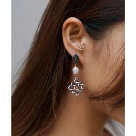 GRID MOTIF EARRINGS (SILVER)