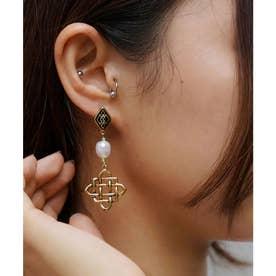GRID MOTIF EARRINGS (GOLD)