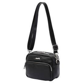 FAUX LEATHER SHOULDER BAG (BLACK)