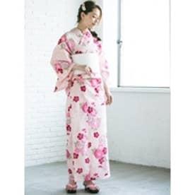 丸菊(ピンク) 帯ホワイト×花柄ホワイト下駄