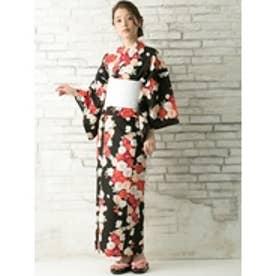 八重桜(黒) 帯ホワイト×花柄ホワイト下駄