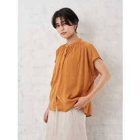 ・サテンドビーギャザーシャツ (オレンジ)