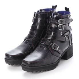 [YOSUKE公式SHOP限定カラー]ベルテッドブーツ2600529 (ブラックパープル)