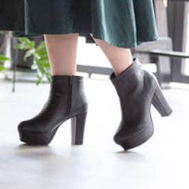 10.5cm太ヒールショートブーツ (ブラック(スムース))