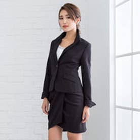 ストレッチ変形スカートスーツ (ブラック)