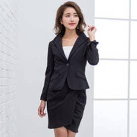 ストレッチ変形スカートスーツ (ブラックストライプ)