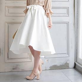 リボンベルトフィッシュテールスカート (ホワイト)