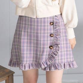 フリルラップスカート (チェック柄ラベンダー)