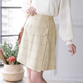3ボタン台形ラップスカート (ベージュチェック)